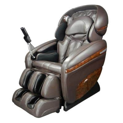 Pro Dreamer Series Brown Faux Leather Reclining Massage Chair with 3D S-Track, Built-in MP3 Speakers, and Foot Rollers
