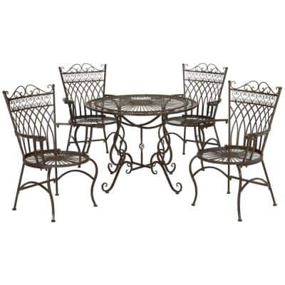 Thessaly Rustic Brown 5-Piece Metal Outdoor Dining Set