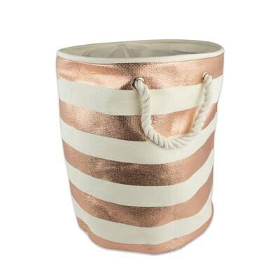 Round Woven Paper Stripe Decorative Bin