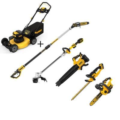 21.5 in. 20-Volt Li-Ion Cordless Battery Walk Behind Push Mower w/Hedge Kit, Trimmer, Blower, Pole & Hand Saw(Tool Only)