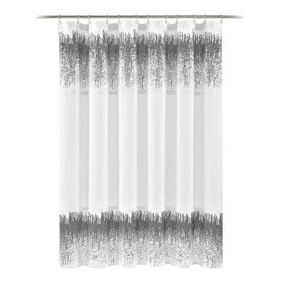 70 in. x 72 in. Shimmer Sequins Shower Curtain White/Black Single