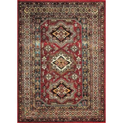 Randy Medieval Transitional Red 5 ft. x 8 ft. Indoor/Outdoor Area Rug