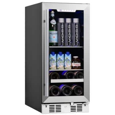 Signature 15 in. 48 Can and 7 Bottle Stainless Steel Single Door Single Zone Built-In Beverage and Wine Cooler