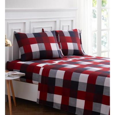 Red and Black Plaid 4-piece Microfiber Queen Sheet Set