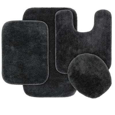 Traditional Dark Gray 4-Piece Washable Bathroom Rug Set