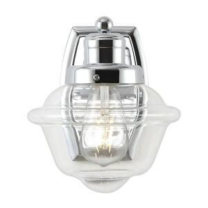 Orleans 7 in. 1-Light Chrome Iron/Glass schoolhouse LED Vanity Light