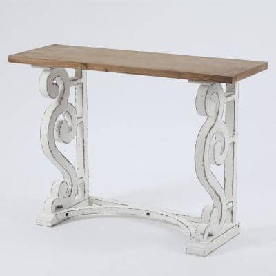 42 in. Brown/White Standard Rectangle Wood Console Table