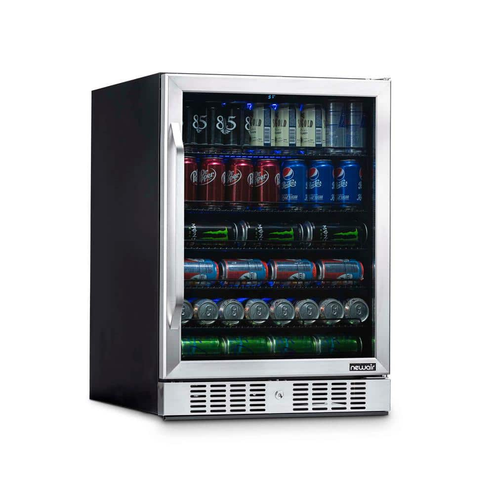 NewAir 24 in. 177 (12 oz) Can Built-In Beverage Cooler Fridge w/ Precision Temp. Controls, Adjustable Shelves - Stainless Steel-ABR-1770 - The Home Depot