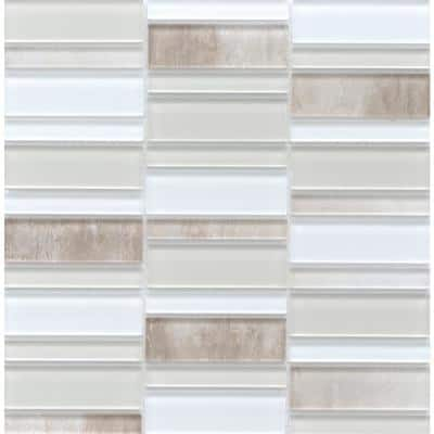 La Vie Cream 11.81 in. x 11.93 in. x 6mm Glass Mesh-Mounted Mosaic Tile (0.98 sq. ft.)