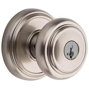 Prestige Alcott Satin Nickel Entry Door Knob Featuring SmartKey Security