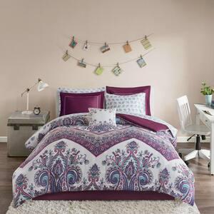 Layne 9-Piece Purple Queen Comforter Set
