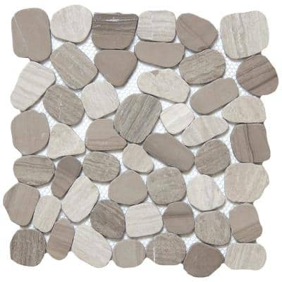Cultura Taupe Honed and Tumbled 11.81 in. x 11.81 in. x 8 mm Pebbles Mesh-Mounted Mosaic Tile (1 sq. ft.)