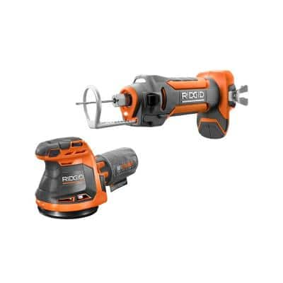 18V Cordless 2-Tool Combo Kit with 5 in. Random Orbit Sander and Drywall Cut-Out Tool (Tools Only)