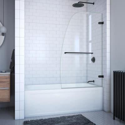 Aqua Uno 34 in. W x 58 in. H Frameless Hinged Tub Door in Satin Black