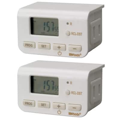 10 Amp Indoor Plug-In Daily Lamp Slim Fit Simple Set Single-Outlet Digital Timer, White (2-Pack)