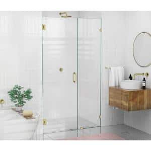 42.5 in. x 78 in. Frameless Pivot Wall Hinged Shower Door in Satin Brass