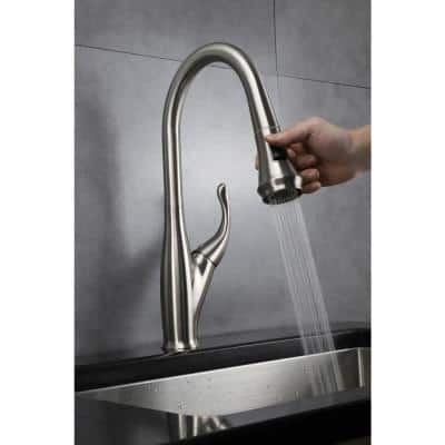 Garbatella Brass Single-Handle Kitchen Faucet with Pull Out Sprayer in Brushed Nickel
