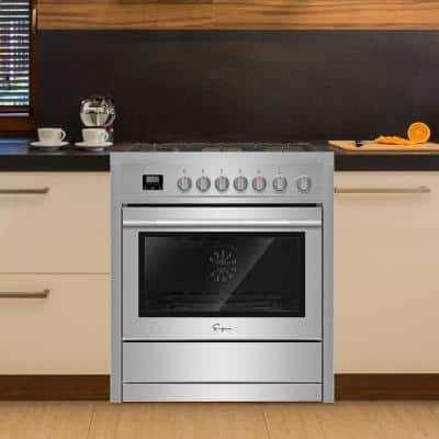 36 in. 3.9 cu. ft. Professional Style Slide-In Gas Range with Convection Oven in Stainless Steel