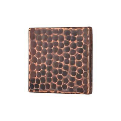 3 in. x 3 in. Hammered Copper Decorative Wall Tile in Oil Rubbed Bronze (4-Pack)