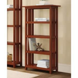 48 in. Cherry Wood 4-shelf Etagere Bookcase with Adjustable Shelves