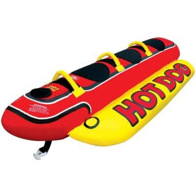 AIRHEAD Hot Dog Triple Rider Towable Inflatable 3-Person Boat Lake Tube
