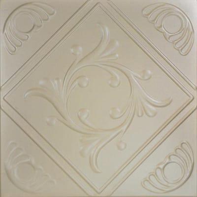Diamond Wreath 1.6 ft. x 1.6 ft. Glue Up Foam Ceiling Tile in Lenox Tan