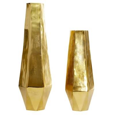 19 in., 26 in. Modern Geometric Gold Metal Vases (Set of 2)