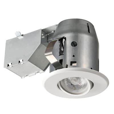 3 in. New Construction and Remodel White Swivel Spotlight Recessed Lighting Kit