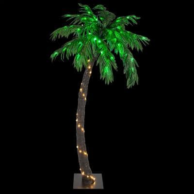 5 ft. Pre-Lit Curved Artificial Palm Tree with 104 LED Lights