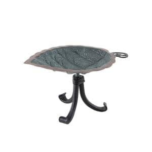 13 in. L Antique Brass Plated Aspen Leaf Birdbath with Tripod Stand