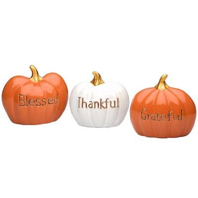 5 in. Orange Blessed, White Thankful and Orange Grateful Pumpkins (Set of 3)