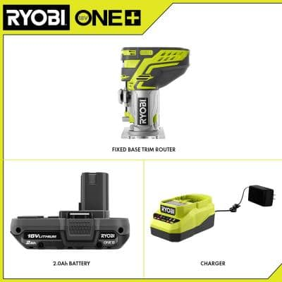 ONE+ 18V Cordless Fixed Base Trim Router with Tool Free Depth Adjustment, (1) 2.0 Ah Battery and Charger