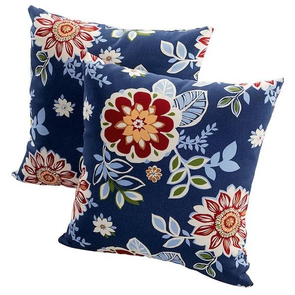 Hampton Bay Washed Blue Outdoor Throw, Outdoor Blue Pillows