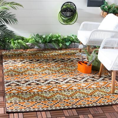 Veranda Terracotta/Chocolate 3 ft. x 3 ft. Aztec Tribal Indoor/Outdoor Square Area Rug