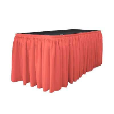 30 ft. x 29 in. Long Coral Polyester Poplin Table Skirt with 15 L-Clips