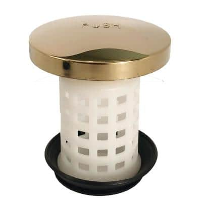 Universal Tub Drain Protector Strainer in Polished Brass