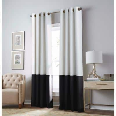 White Color Block Grommet Sheer Curtain - 52 in. W x 63 in. L