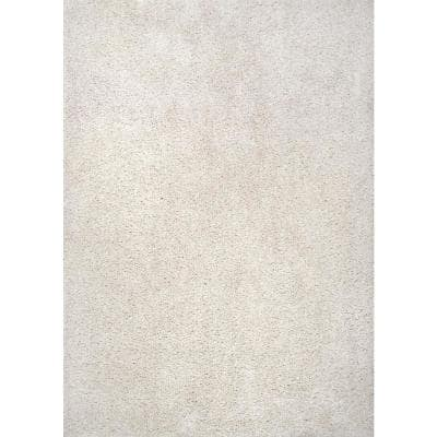 Clare Solid Shag Cream White 5 ft. 3 in. x 7 ft. 6 in. Area Rug