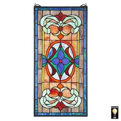 Sainte-Genevieve Tiffany-Style Stained Glass Window Panel