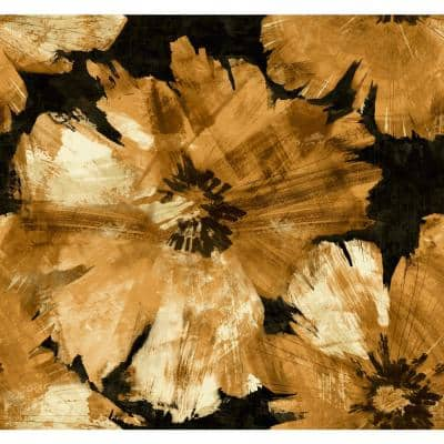 Curie Floral Metallic Gold and Ebony Paper Strippable Roll (Covers 60.75 sq. ft.)