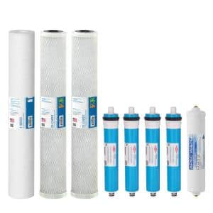 Ultimate Complete Replacement Filters for 360 GPD Premium Commercial Grade Reverse Osmosis System Complete with Membrane