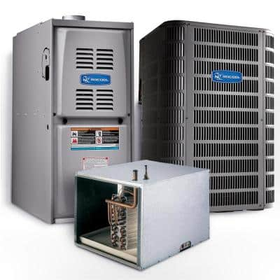 Signature 3.5 Ton 15 SEER Horizontal 80% AFUE 110,000 BTU Complete Split System Air Conditioner with Gas Furnace