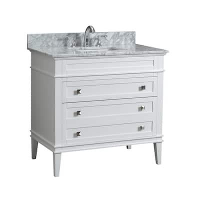 Rivoli 36 in. W x 22 in. D Bath Vanity in White with Carrara Marble Vanity Top with White Basin