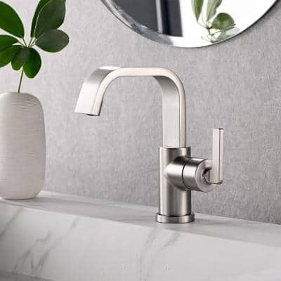 Single Hole Single-Handle Bathroom Faucet with drain in Spot Resist Brushed Nickel