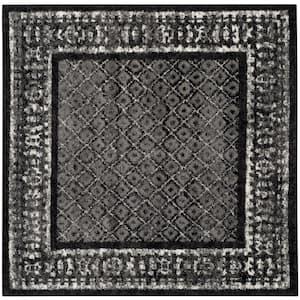 Adirondack Black/Silver 4 ft. x 4 ft. Square Area Rug