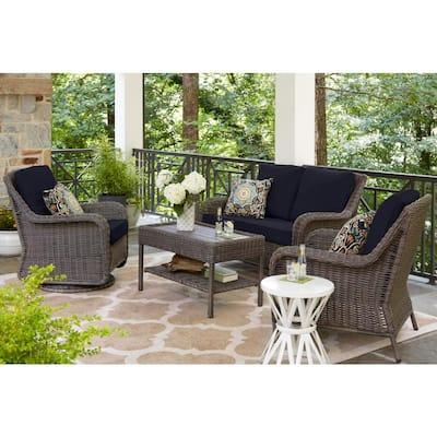 Cambridge Gray Wicker Outdoor Patio Loveseat with CushionGuard Midnight Navy Blue Cushions