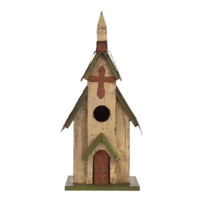 11.75 in. H Distressed Solid Wood Church Birdhouse(KD)