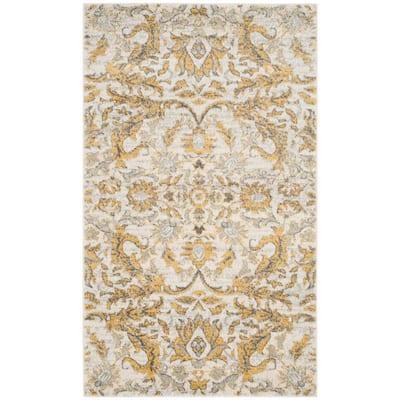 Evoke Ivory/Gold 3 ft. x 5 ft. Floral Area Rug