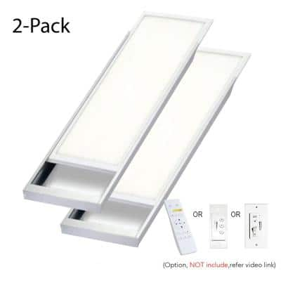 4 ft. x 1 ft. 400-Watt Equivalent 4200 LM Integrated LED Dimmable Drop Ceiling Flat Panel White Troffer w/ Frames (2-Pk)