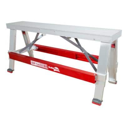 Buildman 18 in. x 30 in. Aluminum Anti-Slip Adjustable Workbench, Scaffold Bench with 500 lbs. Load Capacity